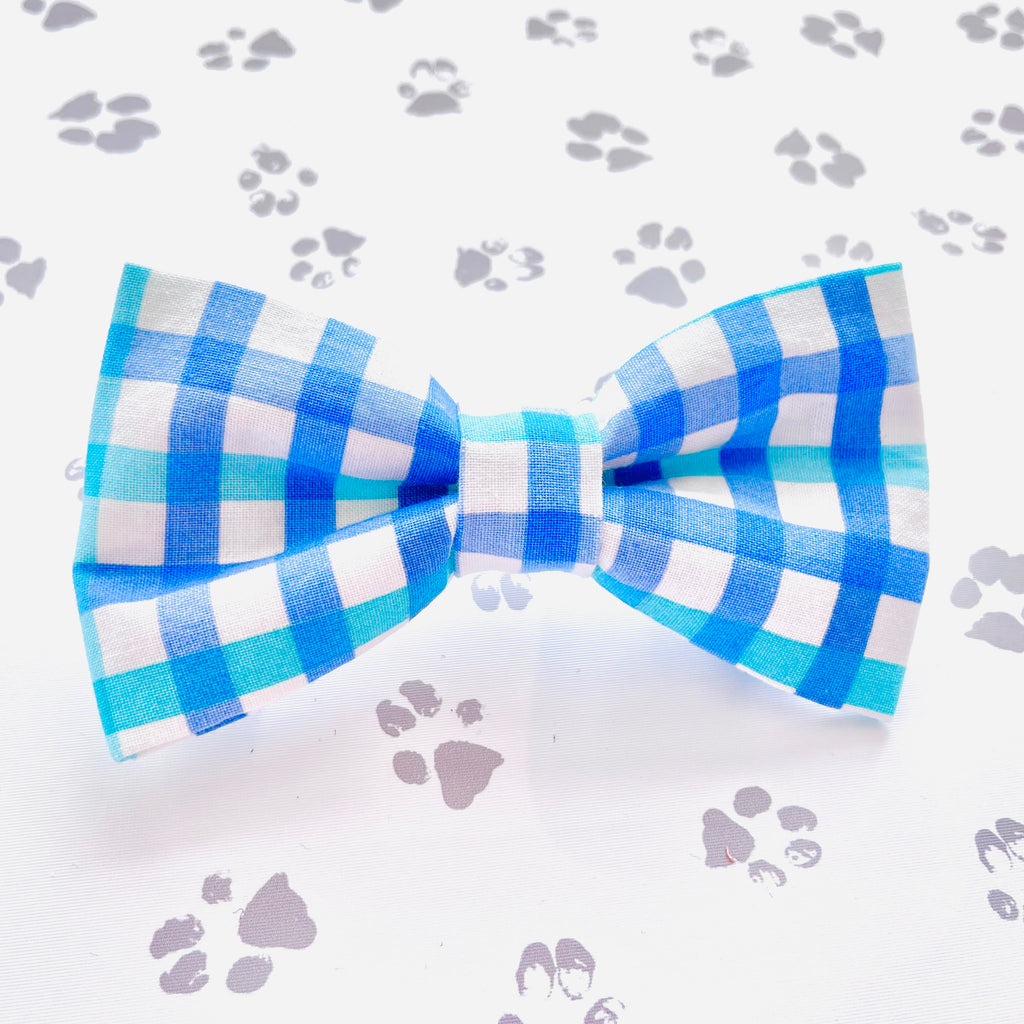 Beach Blues Gingham Bow Tie