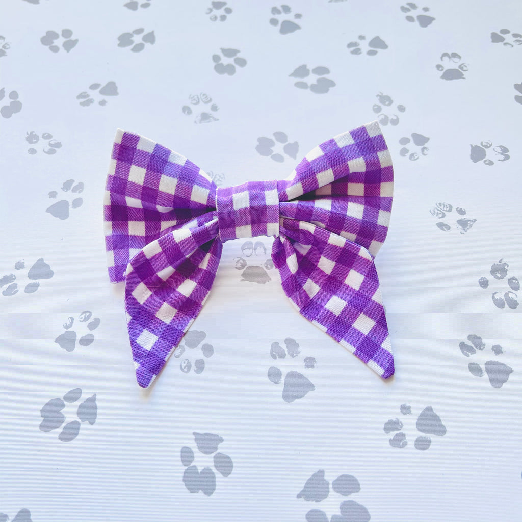 Purple Gingham Sailor Bow