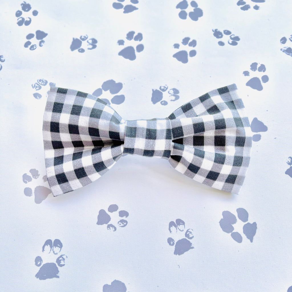 Black & White Gingham Bow Tie
