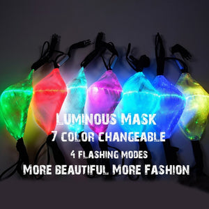 LED Mask Anti Dust 7 Colors Changeable USB Charge