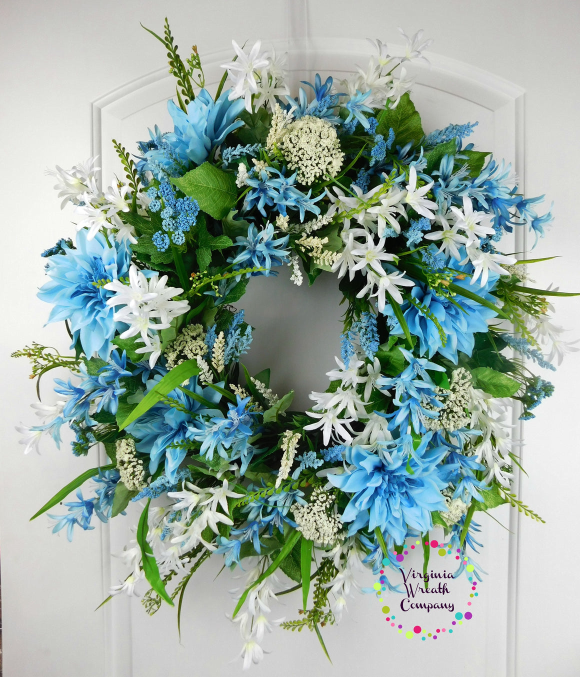 Summer wreaths summer door decor virginia wreath company blue and white wreath blue floral grapevine wreath izmirmasajfo Gallery