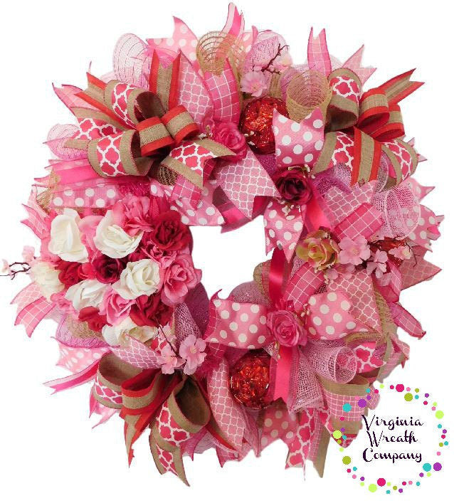 pink rose wreath mothers day wreath pink deco mesh wreath gift for her