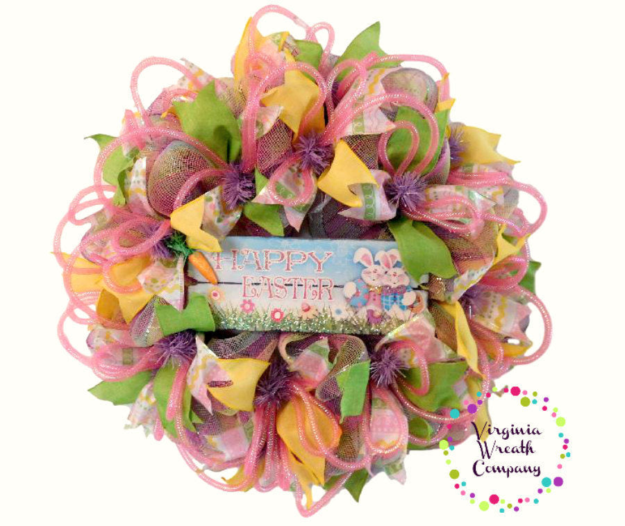 easter deco mesh wreath easter wreath spring wreath easter decor spring decor - Easter Wreaths