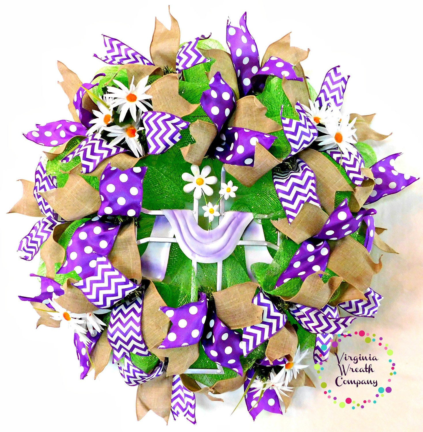 Easter Deco Mesh Wreath With Cross
