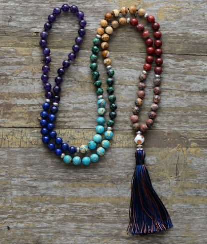 Natural Stone Long Tassel Necklace