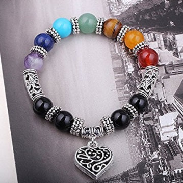 Heart Charm Bracelet With 7 Chakra Beads