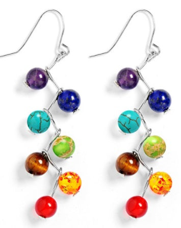 Simple Long Dangling Earrings with 7 Chakra Beads