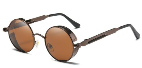 Polarized Round Retro Steampunk Sunglasses