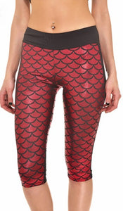 Stretch Capri Pants with Mermaid Scales