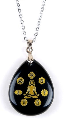 Trendy 7 Chakra Black Stone Necklace