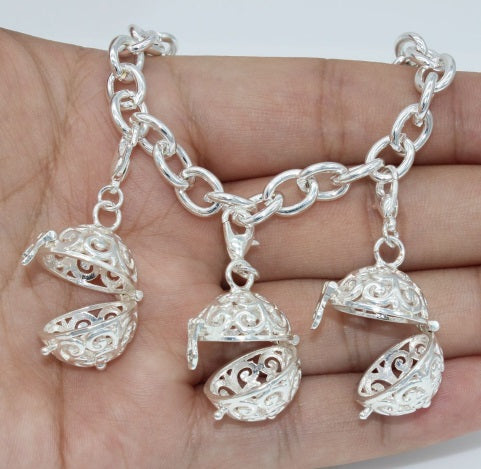 Silver Hollow Cage Diffuser Charm Bracelet