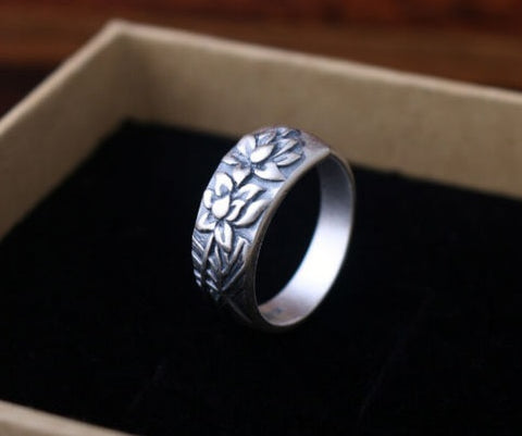 Sterling Silver Flower Zen Namaste Ring
