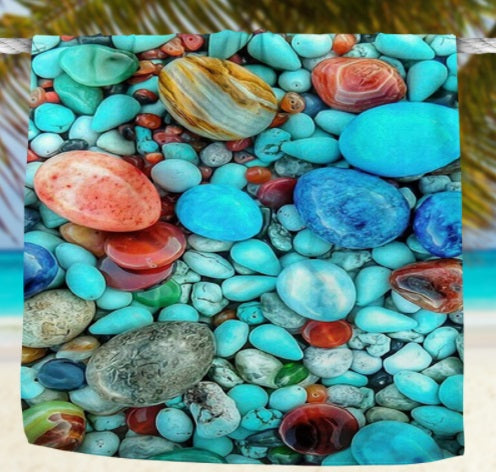 Large Microfiber Towel with 3D Pebbles Design