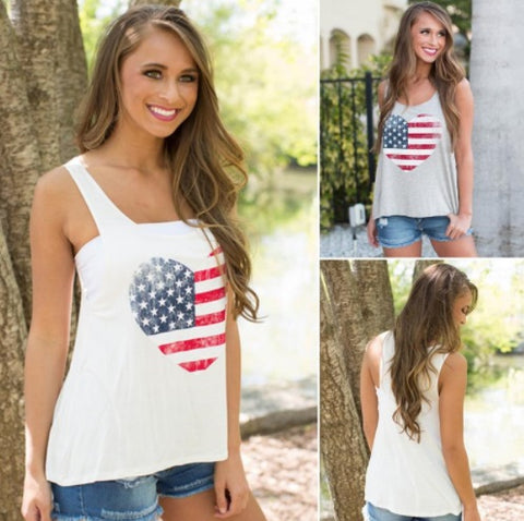 Sleeveless Tank Top with Heart USA