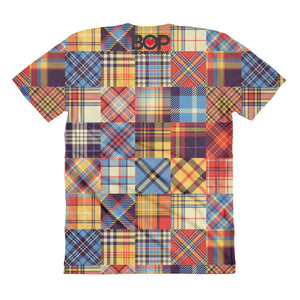 Plaid Patch Sublimation women's crew neck t-shirt