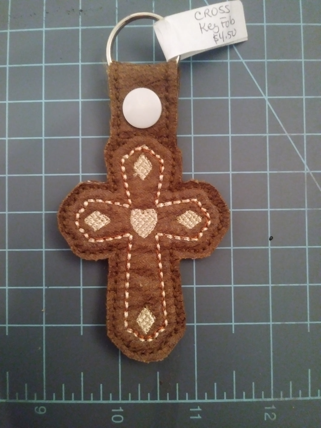 Cross (brown with cream) Keychain