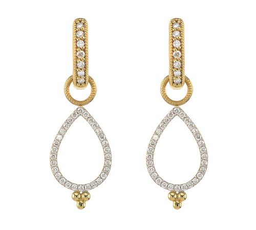 JF Provence Delicate Open Pear Pave Earring Charms
