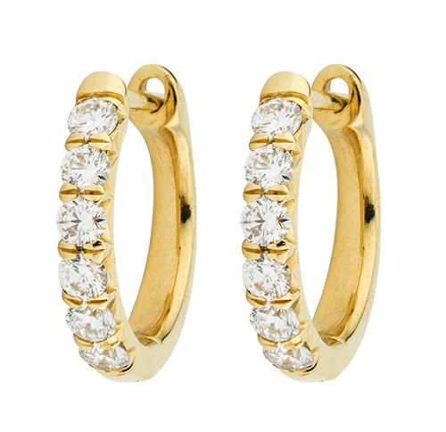 JF Diamond Pave Hoop Earrings - Yellow Gold