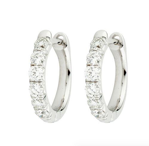 JF Diamond Pave Hoop Earring - White Gold