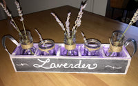 Wooden crate with 5 mini glass jars