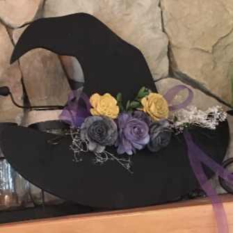 DIY Floral Wood Witch Hat