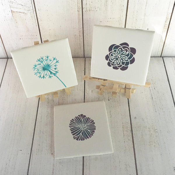 DIY Spring Tile Art with Mini Easel