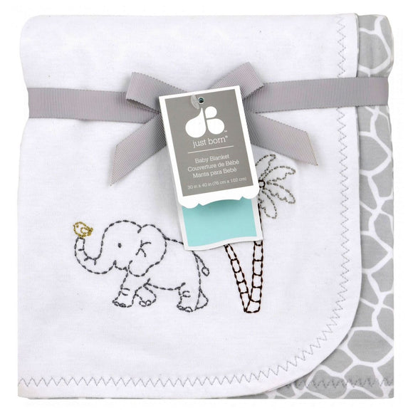 Just Born Embroidered Cotton Knit Blanket - Animal Kingdom