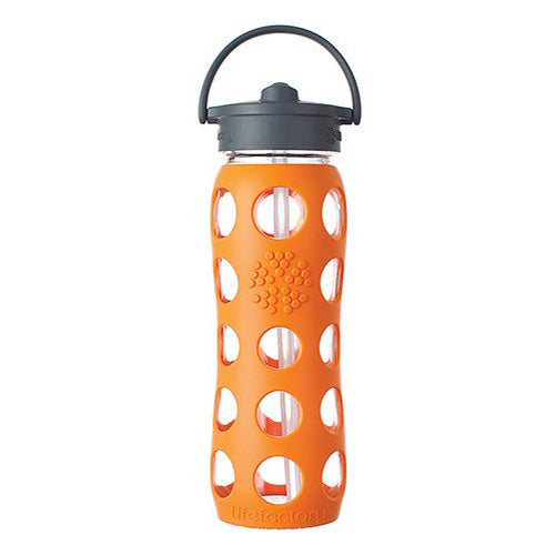 Glass Bottle with Straw Cap and Silicone Sleeve - 22oz
