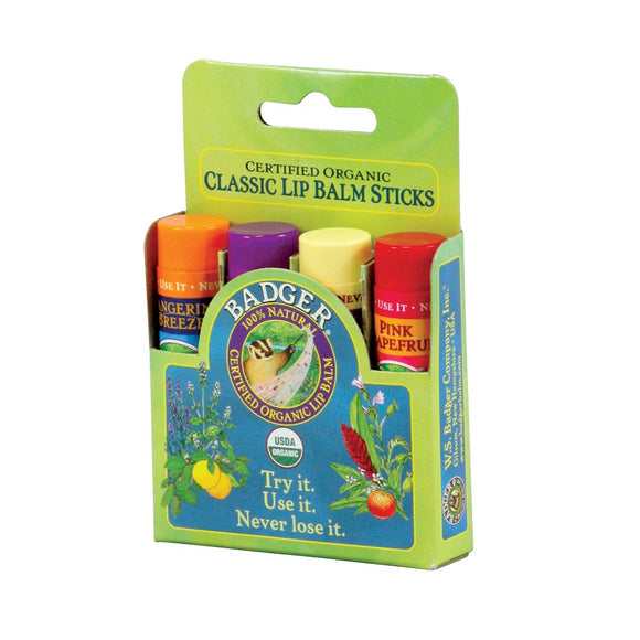 Badger Classic Lip Balm 4 Pack - Green