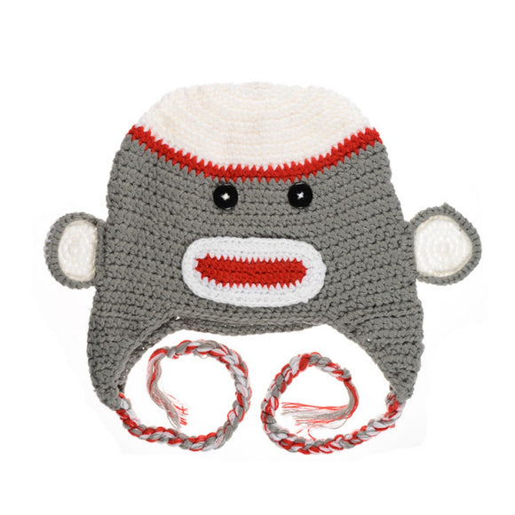 Gray and Red Monkey Hat