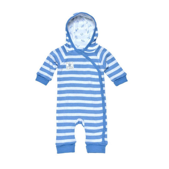Lined Hooded Romper - Blue Stripes