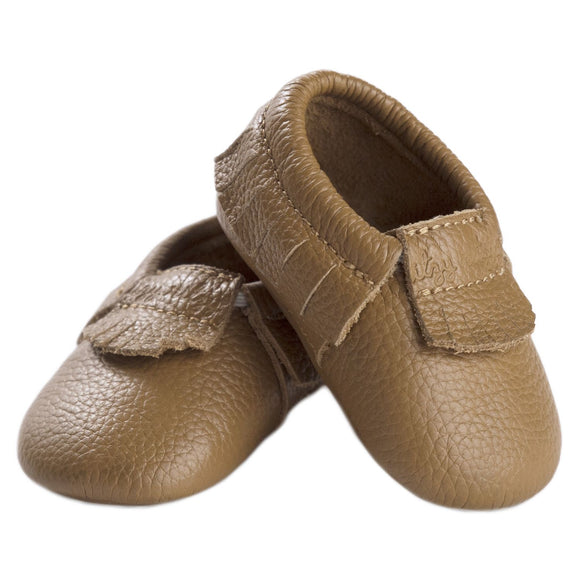 Moc Happens Leather Baby Moccasins- Toasted Almond