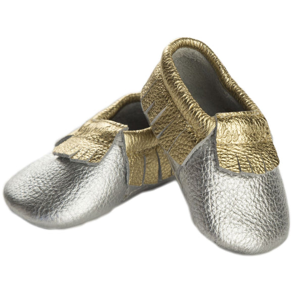 Moc Happens Leather Baby Moccasins- Precious Metals