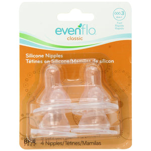 Evenflo Classic Silicone Nipple, Fast Flow (6/8+m) - 4pk