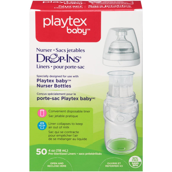 Playtex Drop-Ins Liners for Playtex Nurser Bottles, 4oz - 50ct