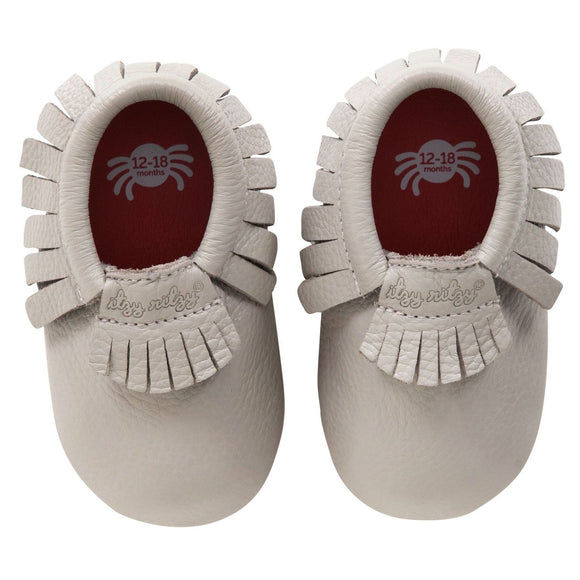 Moc Happens Leather Baby Moccasins- Pebble Gray