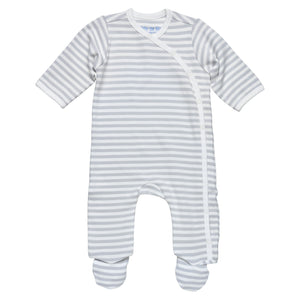 Under the Nile Side Snap Footie- Grey Stripe