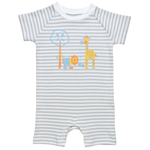 Under the Nile Romper- Grey Stripe