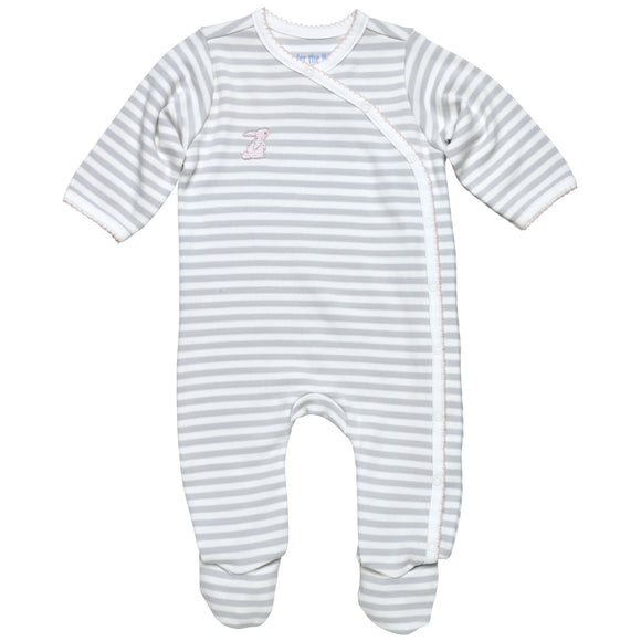 Under the Nile Side Snap Footie- Grey Stripe w/Pink Trim