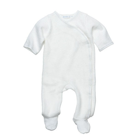 Under the Nile Side Snap Footie, Off  White w/Gray Coverstitch - 6M
