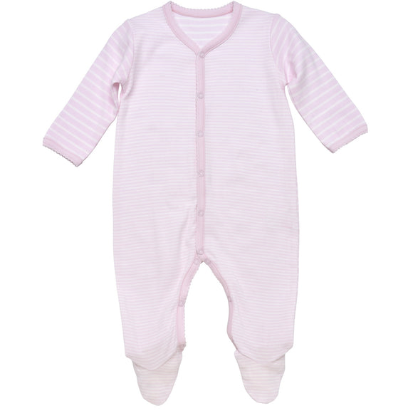 Snap Front Footie w/ Mitts, Pale Pink Stripe