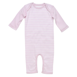 Lap Shoulder Romper, Pale Pink Stripe