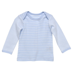 Lap Shoulder T-Shirt, Pale Blue Stripe