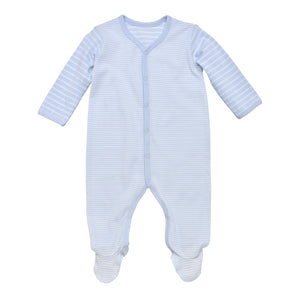Snap Front Footie w/ Mitts, Pale Blue Stripe