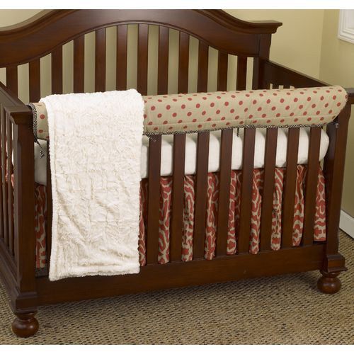 Raspberry Front Crib Rail Cover Up Set