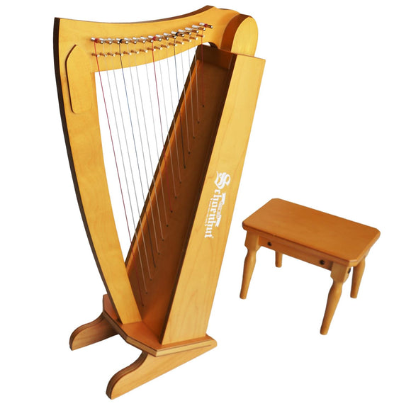 (Scratch & Dent) 15 String Harp w/ bench - Cherry