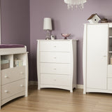 Beehive 4-Drawer Chest, Pure White