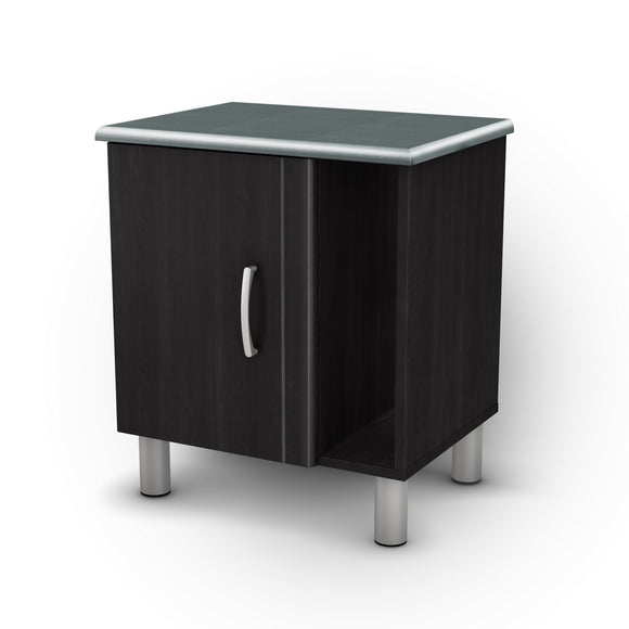 Cosmos Nightstand with Storage, Black Onyx and Charcoal
