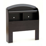 Cosmos Twin Bookcase Headboard (39''), Black Onyx and Charcoal
