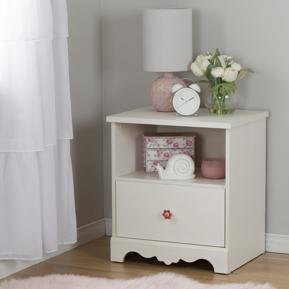 Lily Rose 1-Drawer Nightstand, White Wash